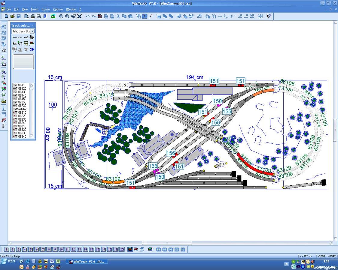 Схема, нарисованная в Wintrack